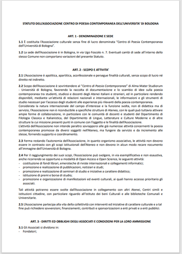 Statuto dell'Associazione Centro di Poesia Contemporanea dell'Università di Bologna