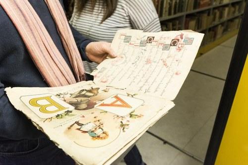 "Image of children book for the teching of alphabet.  Library ""Mario Gattullo"" Education Sciences - Via Filippo Re 6 - Bologna  2017 Photo by Claudio Turci"