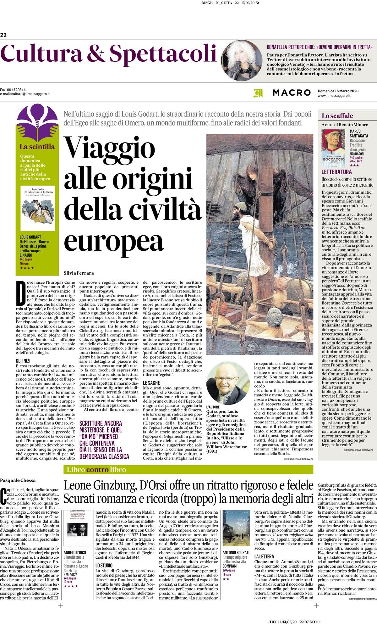 """Review of """"Da Minosse a Omero"""" by Silvia Ferrara, on Il Messaggero (15/03/2020)"""