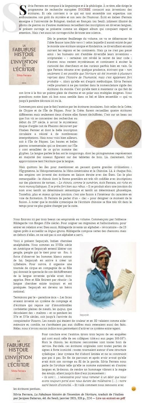 Review of 'La Fabuleuse Histoire de l'invention de l'écriture' - French edition of 'La Grande Invenzione' - by Diacritik (02/02/2021)
