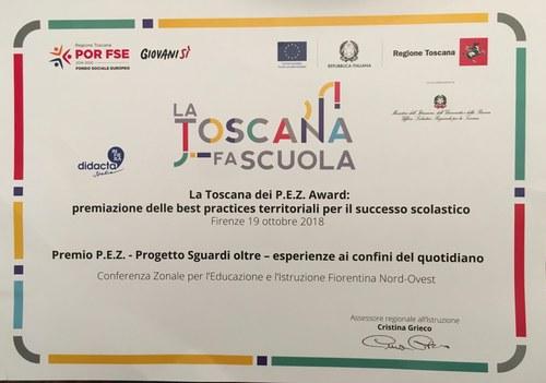 premio PEZ per il progetto Sguardi Oltre, attestato, 2018.