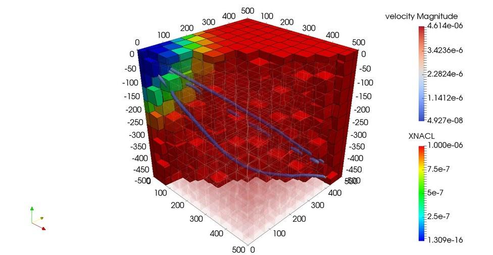 3D perturbed model - pathlines